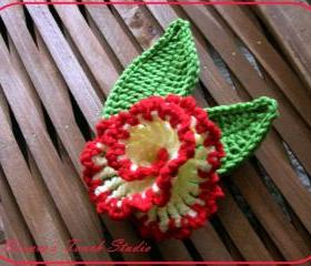 Vanilla and Cherry Flower. CROCHET PATTERN. Applique, Brooch, Clipie, Embelishments.