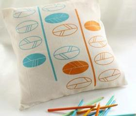 Spring CUSHION, pillow COVER hand printed with leaves in orange and turquoise