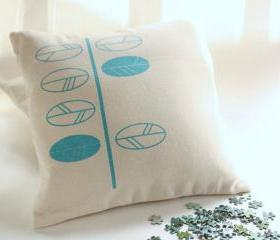 Cushion cover - turquoise leaves screen printed