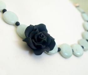 Black Flower Necklace - Amazonite Blue and Black Statement Necklace