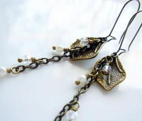 Long Autumn Leaves Pearls and Crystals Brass Earrings