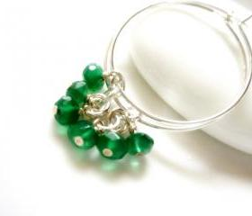Emerald Green Onyx Angel Sterling Silver Hoop Earrings