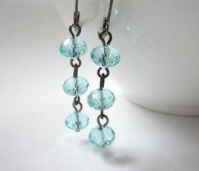 Cool lake blue crystal and black gunmetal earrings