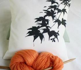 Maple branch CUSHION COVER Natural or green handprinted