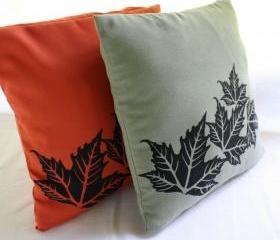Terracotta or green PILLOW COVERS with leaves handprinted