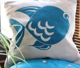 Natural and Blue CUSHION cover, handmade, with blue fish handprinted.