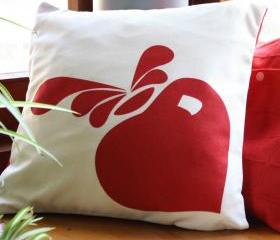 Modern cushion - Natural and red CUSHION cover, hand printed design.