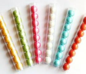 8 Gumball Tube Favors Pre-Filled with Your Choice of Shimmer/Solid Gumballs