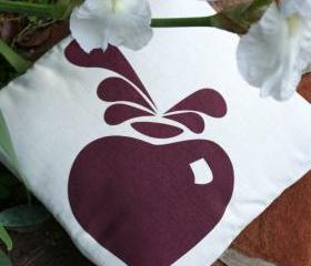 CUSHION COVER Natural & aubergine decorative modern accent pillow beetroot screen printed
