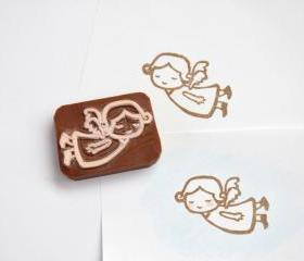 Hand Carved Rubber Stamp / Little Angel