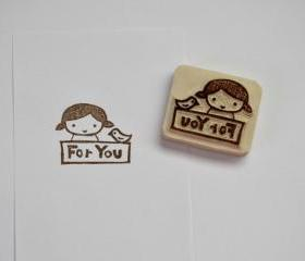 Hand Carved Rubber Stamp / For You