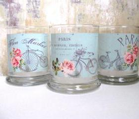 French Candle Holder, Cottage Decor, Bicycle, Paris Decor