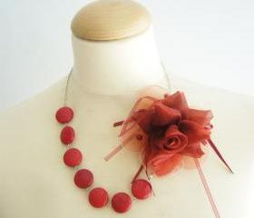 Red flower necklace, bridal necklace, retro style