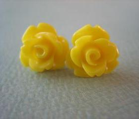 Adorable Mini Rose Earrings - Yellow - Jewelry by FIVE
