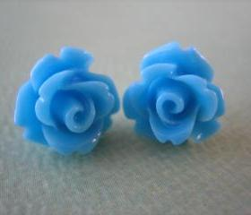 Adorable Mini Rose Earrings - Blue - Jewelry by FIVE