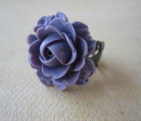 Purple Rose on Antique Brass Filigree Ring - Adjustable - Jewelry by FIVE
