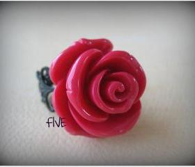 Large Honeysuckle Pink Rose on Black Brass Filigree Ring - Adjustable - Jewelry by FIVE