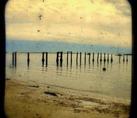 Beach Photography Print 5x5 Old Pier TtV Photograph - Rustic Beach Cottage Decor Photo