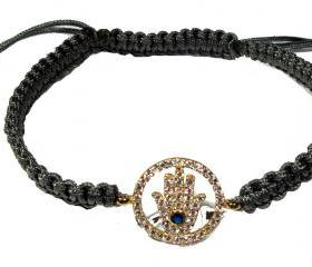 CZ Hamsa hand macrame bracelet