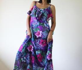 Floral Maxi Dress Bohemian Summer Gown : Sunny Dreams Collection