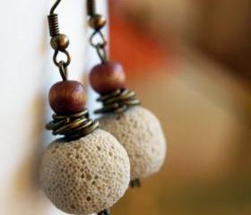 Ivory lava stone Earrings with wood and brass washers- Rustic earrings
