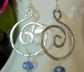 Hand Hammered Bold Earrings, Silver Colored Aluminum, with Blue Sparkle Bead Accent, Modern, Bold,