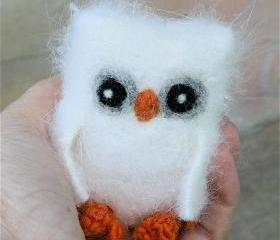 Moonlight the baby Owl ... plush angora eco wool felted owl (woolcrazy)