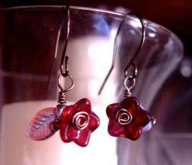 Antique Brass Wire Earrings with Ruby Colored Glass Flowers and Iridescent Leaves