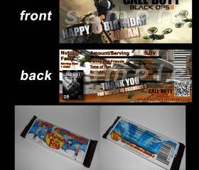 Call of Duty Black Ops 2 Set of 12 Personalized Candy Bar Wrappers Party Favors