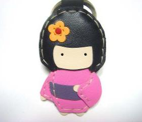 Sakura the Geisha Doll leather charm ( Pink )