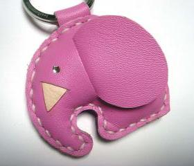 New Laura the Elephant Leather Keychain ( Pink )