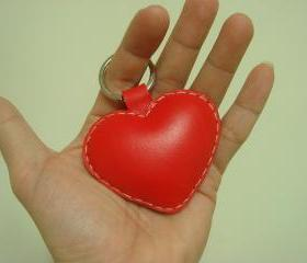 Leatherprince Love Heart leather keychain ( Red )