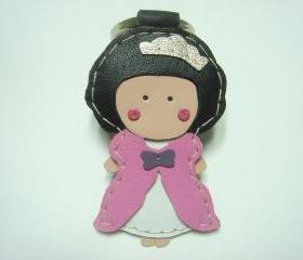 Princess Kelly leather keychain ( Pink )
