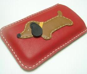 Jemma the Dachshund iPhone Leather case ( Red / Brown )