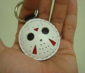Jason Friday the 13th Leather Keychain ( White )