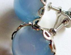 vintage blue catseye earrings in silver metal