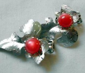 vintage earrings, silver foil leaves with red cabochons