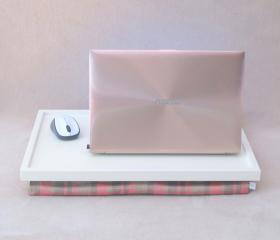 Laptop Lap Desk or Breakfast serving Tray -Off white with coral and haki green checked frabric- Custom Order