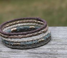 Tribal Bangle Bracelet Set Forest Child II - Recycled fabric wire wrapped. 5 Bangles.