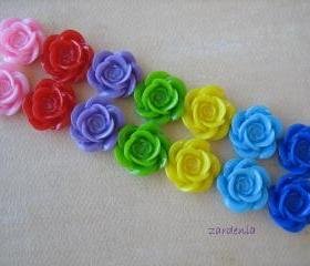 14PCS - Rainbow Mix - Color Me Happy - Rose Flower Cabochons - 18mm - Findings by ZARDENIA