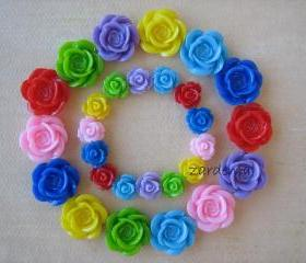 28PCS - Double Rainbow Mix - Color Me Happy - Rose Flower Cabochons - 10mm and 18mm - Findings by ZARDENIA