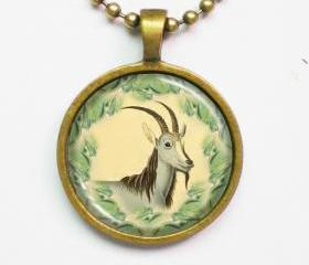 Nature Inspired Necklace- Goat, Capra Jubata- Classic Natural Print Necklace