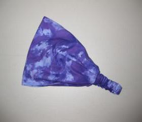 Tie Dye Headband Head Wrap Dreadband Womens Purple Bandana