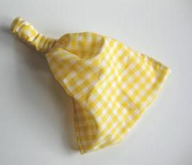 Head Wrap Head Covering Womens Gypsy Bandana Vintage Yellow Gingham Fabric