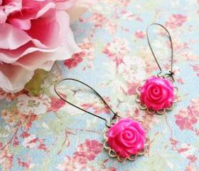 Bright Pink Rose Flower Earrings