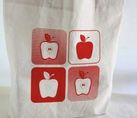 Cotton TOTE BAG - beach totebag screen printed apples