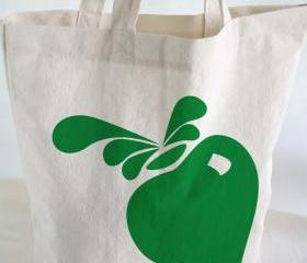 Cotton TOTEBAG - Beach tote - cotton tote bag with hand printed beet
