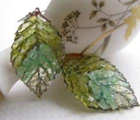 Autumn Leaf Earrings, Green leaf Earrings, Stained Glass Earrings, Stained Glass Leaves