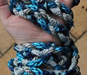 Handfasting cord in shades of blue and silver, with Moroccan woven trim, Swarovski crystals and glass crackle beads