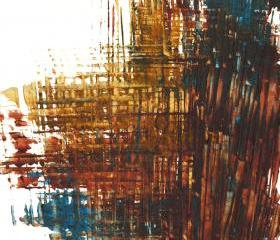 Contemporary Modern Painting - Abstract Art - Burnt Sienna - Blue and Gold - Original Painting - Wall Art - 1016.042712